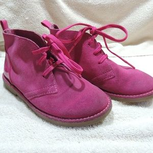 Lands End pink Suede boots sz 12